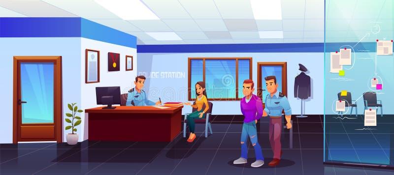 Detención del criminal en la comisaría de policía, policía ilustración del vector