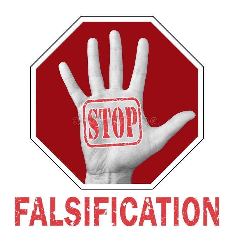 Detener la falsificación de la ilustración conceptual Manos abiertas con el texto detengan la falsificación imagen de archivo
