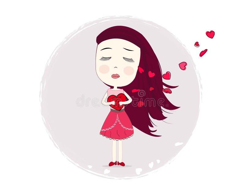 Detener a la muchacha de la tristeza del corazón Muchacha de la soledad Tarjeta de felicitación feliz del día del `s de la tarjet libre illustration