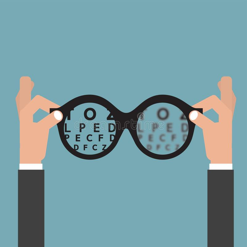 Detenga al óptico de los vidrios de manos, Vision del concepto del cuidado del ojo de la vista stock de ilustración