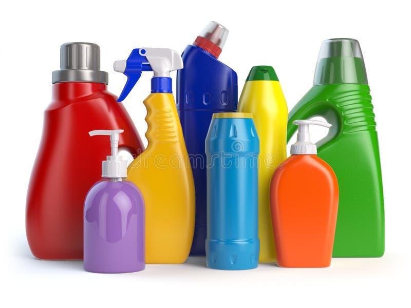 Detergentów zbiorniki lub butelki Cleaning dostawy odizolowywać na w ilustracji