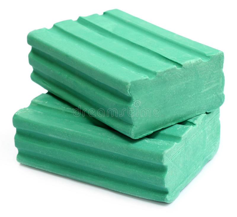 Detergent bars. Two detergent bars over white background royalty free stock images