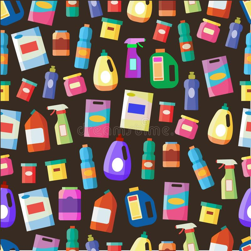 Detergent bottle types seamless pattern - cartoon flat background of household cleaning liquid royalty free illustration