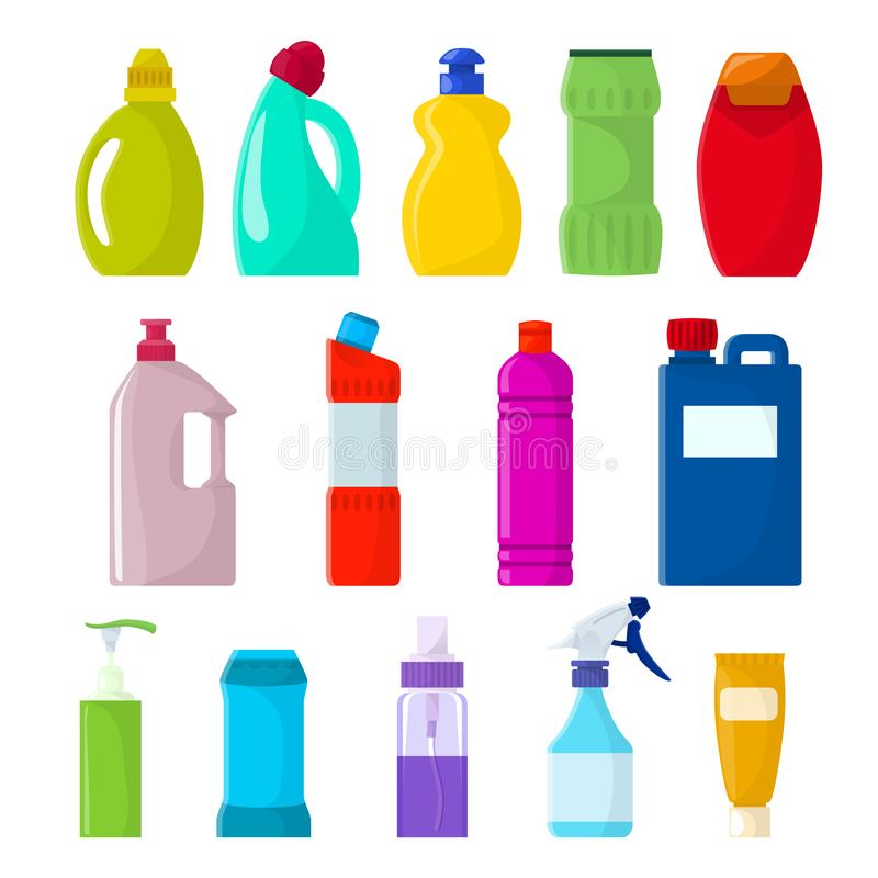 Detergent bottle vector plastic blank container with detergency liquid and mockup household cleaner product for laundry vector illustration