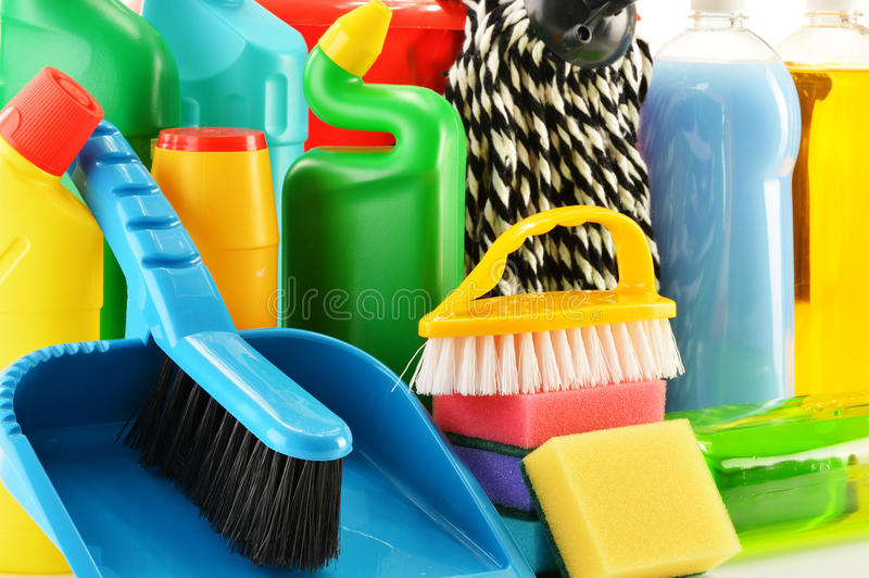 Detergent bottles and chemical cleaning supplie. Composition with detergent bottles and chemical cleaning supplies stock image