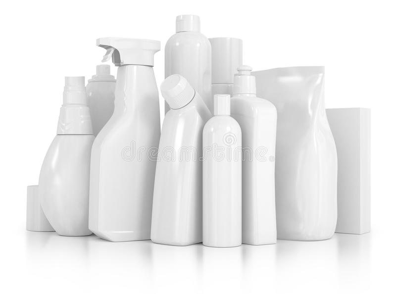 Detergent bottles and chemical cleaning supplies. Isolated on white royalty free stock photos