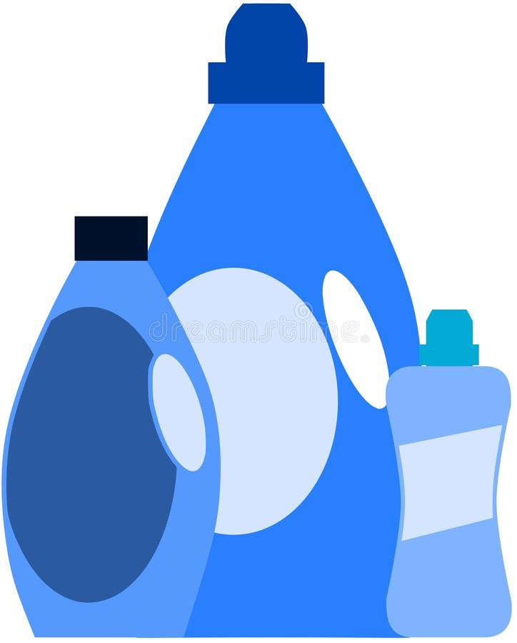 Detergent bottles in blue tones isolated. Illustration representing some detergent bottles in blue tones stock illustration