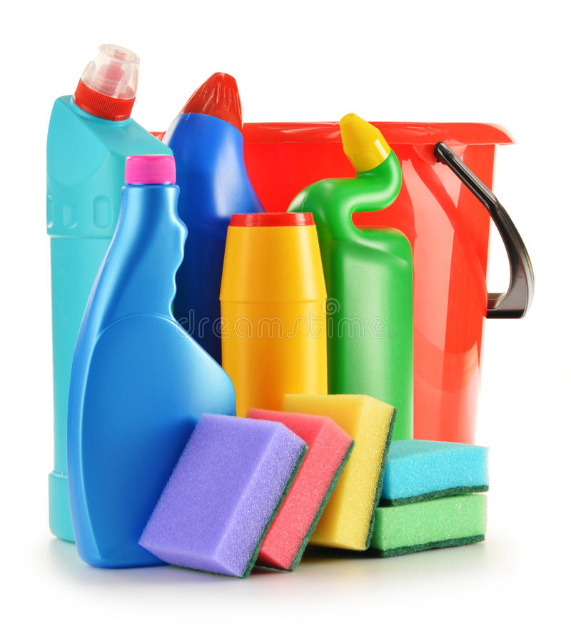 Detergent bottles on white. Chemical cleaning supplies. On white royalty free stock image