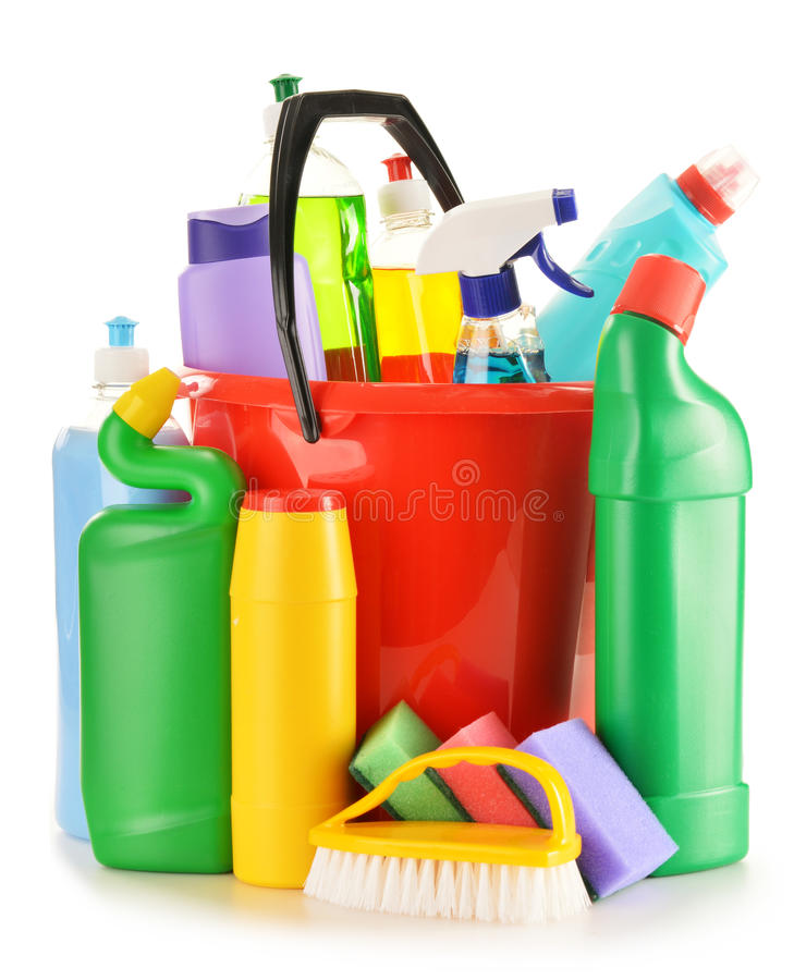Detergent bottles on white. Chemical cleaning supplies. On white stock photo