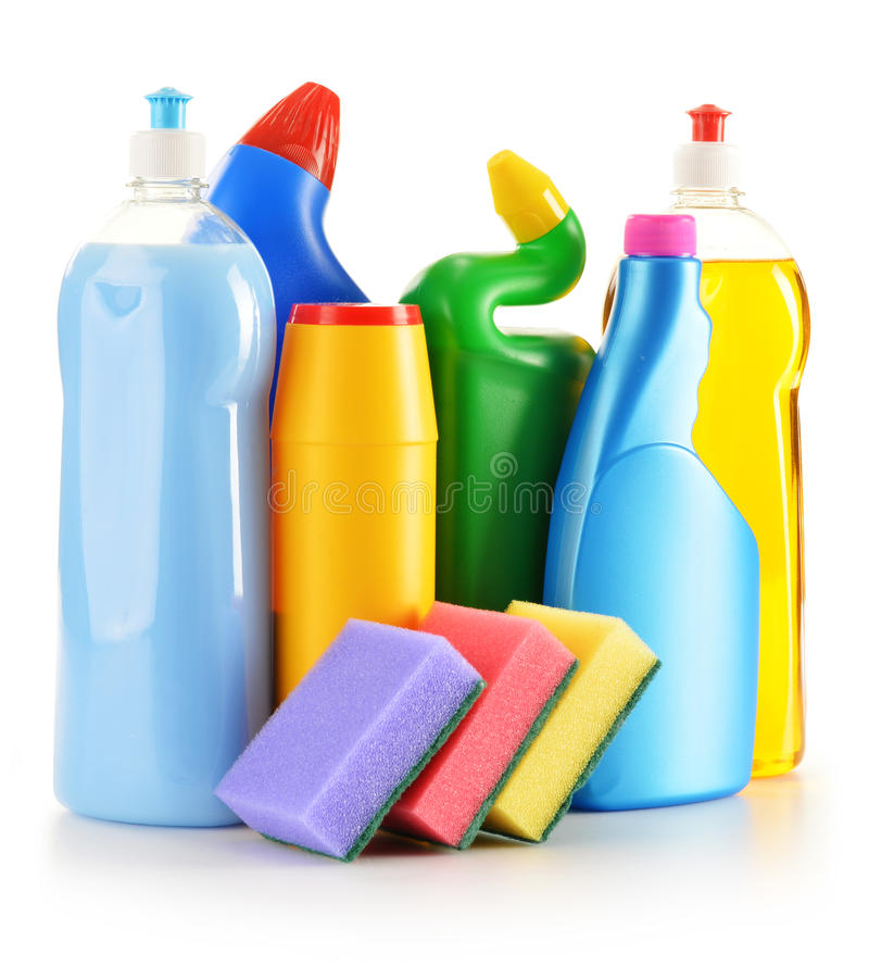 Detergent bottles on white. Chemical cleaning supplies. On white stock photos