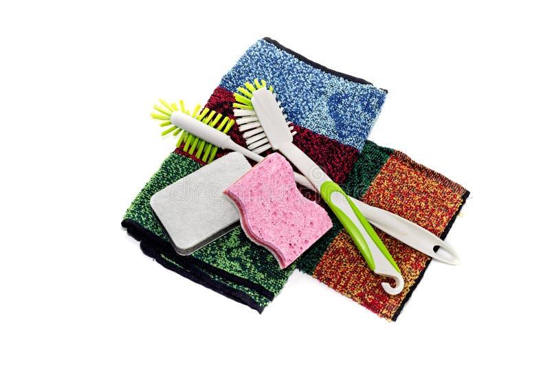 Detergent i washcloths na białym tle zdjęcia royalty free