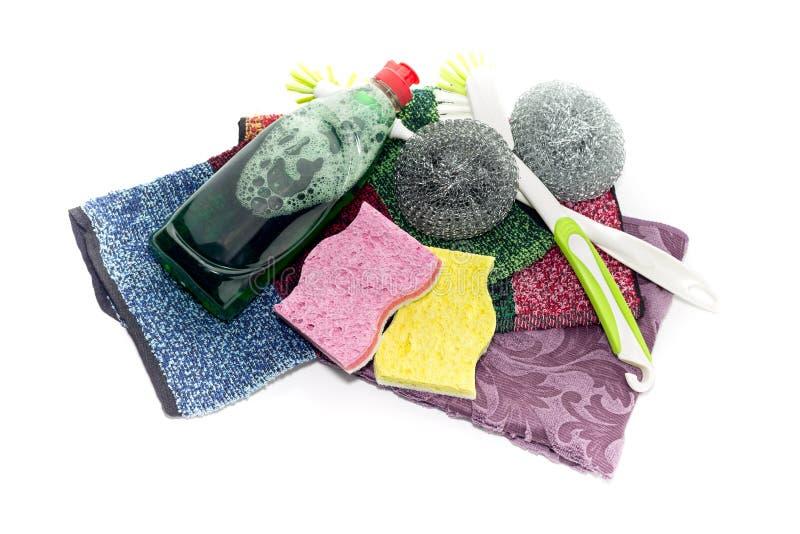 Detergent i washcloths na białym tle fotografia royalty free
