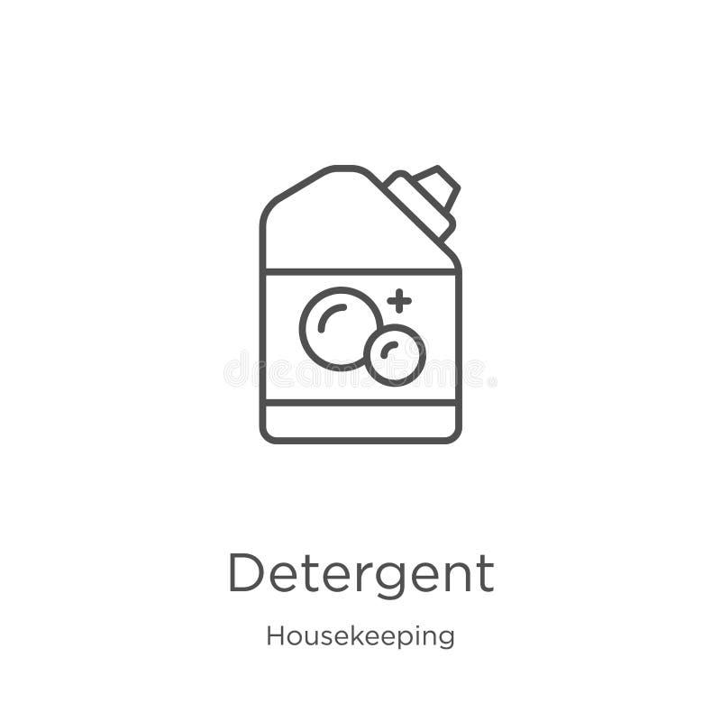 detergent pictogramvector van huishoudeninzameling Dunne het pictogram vectorillustratie van het lijn detergent overzicht Overzic stock illustratie
