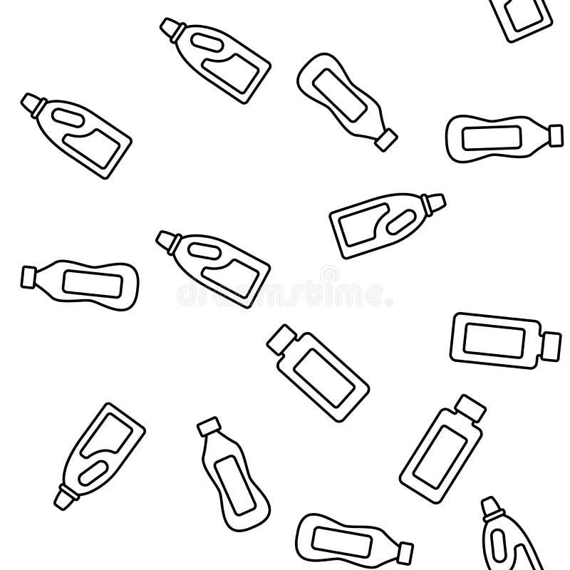 Detergent, Wassend Vloeibaar Vector Naadloos Patroon royalty-vrije illustratie