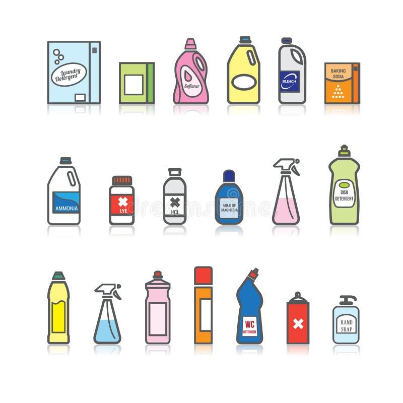 Detergentes fijados ilustración del vector