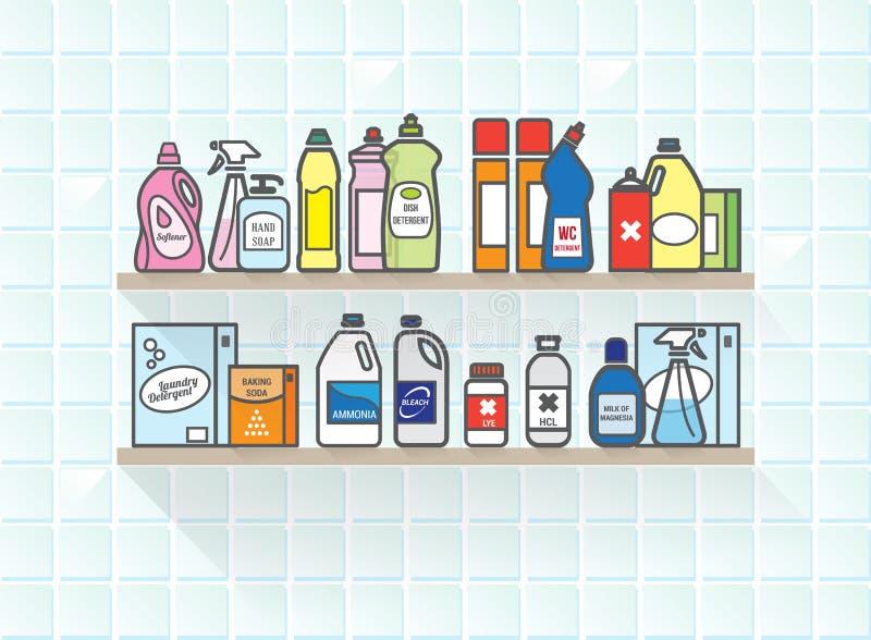 Detergentes fijados en estante del cuarto de baño stock de ilustración