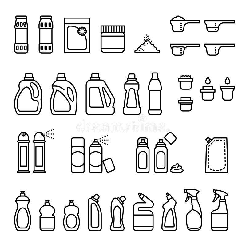 detergentia Chemische producten voor het schoonmaken en desinfectieflessenpictogrammen royalty-vrije illustratie