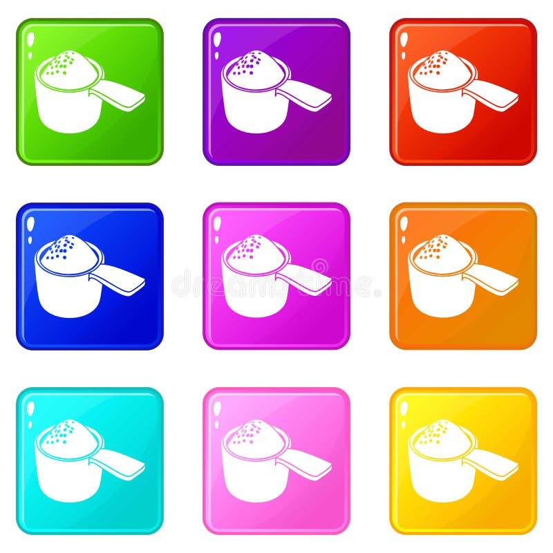 Detergentowe dawek ikony ustawiają 9 kolorów kolekcję royalty ilustracja