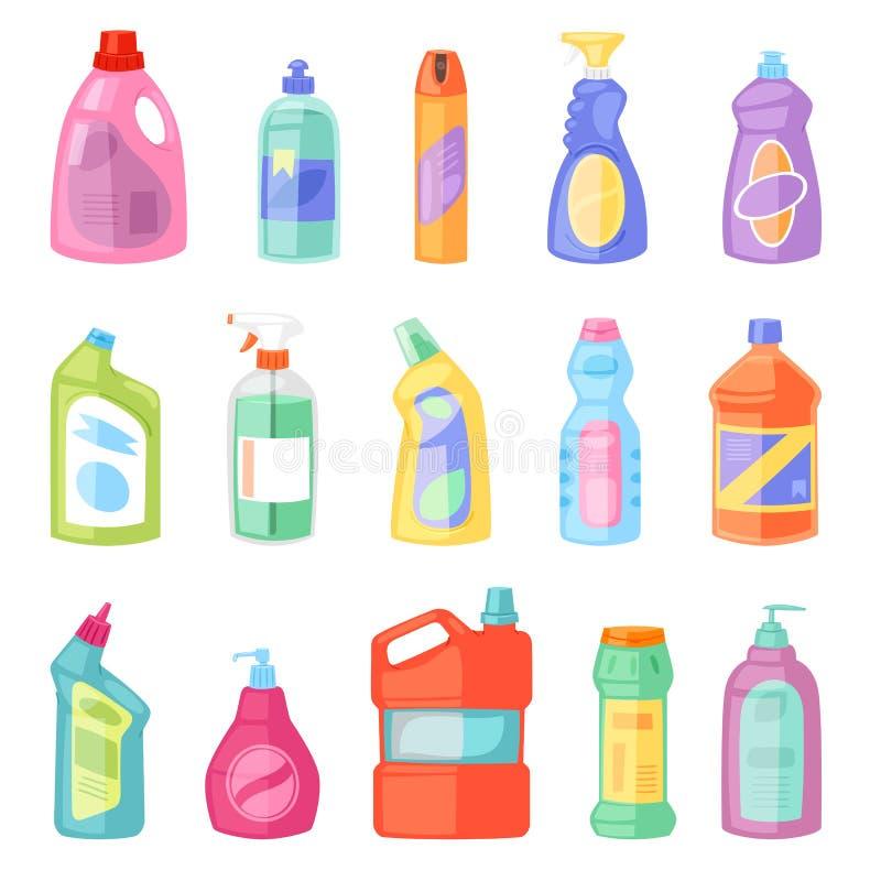 Detergentowej butelki wektorowy plastikowy pusty zbiornik z detergencja cieczem i mockup gospodarstwa domowego cleaner produkt dl ilustracji
