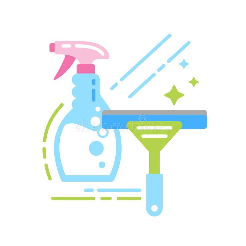 Detergentowej i nadokiennej cykliny koloru płaska ikona Podpisuje dla strony internetowej, mobilny app, sztandar Odosobniony p?as royalty ilustracja