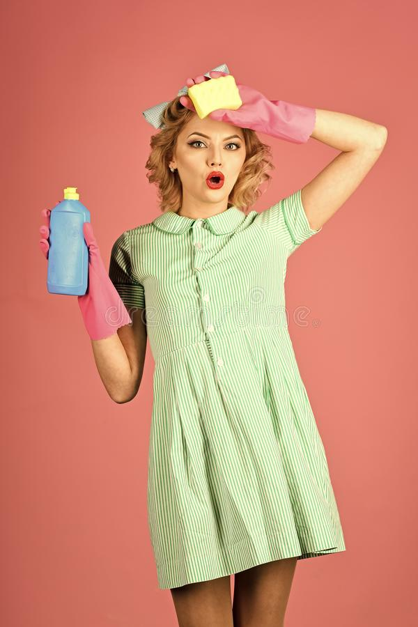 Detergents. Cleaning, retro style, purity stock images