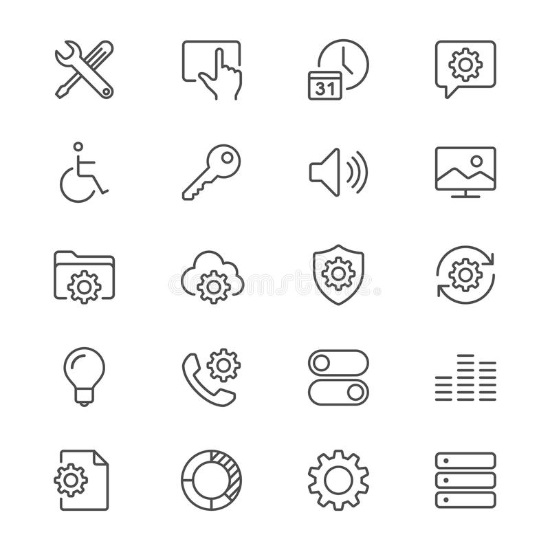 Determinación de iconos finos ilustración del vector