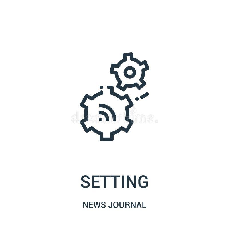 determinación de vector del icono de la colección del diario de las noticias Línea fina ejemplo del vector del icono del esquema  stock de ilustración