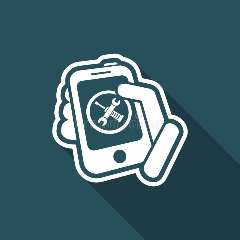 Determinación del dispositivo móvil stock de ilustración