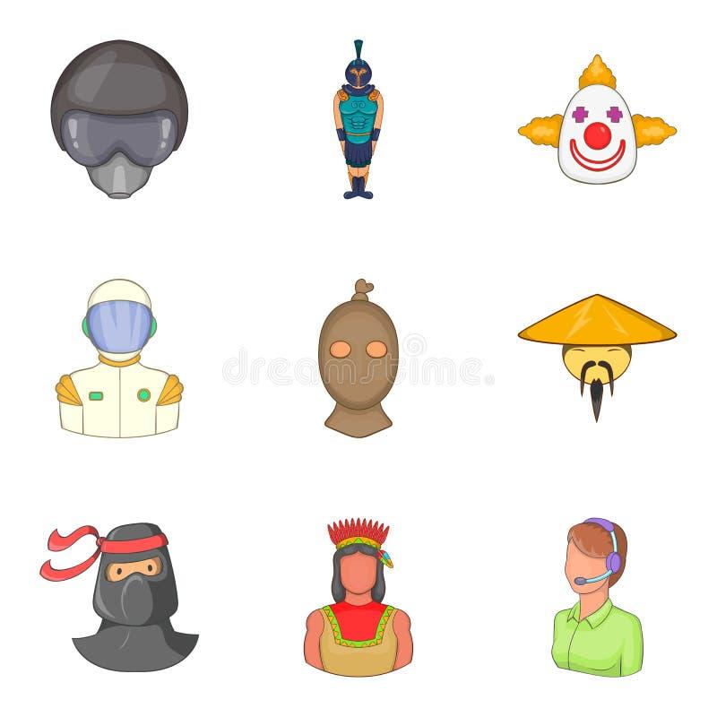 Determinados ícones ajustados, estilo dos povos dos desenhos animados ilustração royalty free