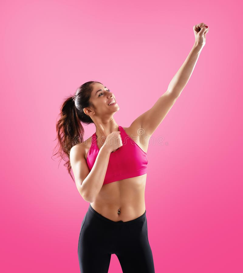 Determinated girl at the gym ready to start fitness lesson royalty free stock photos
