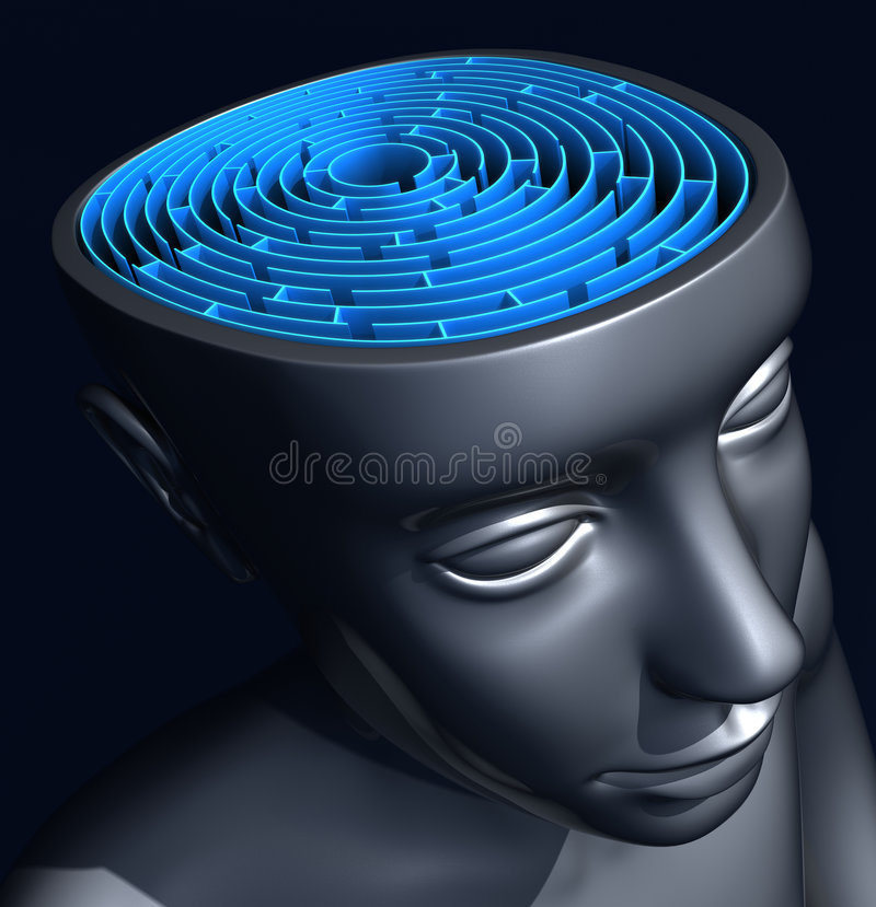 Determination. The labyrinth inside the head represents the difficulty to reach the success, way, solution to the problem stock illustration