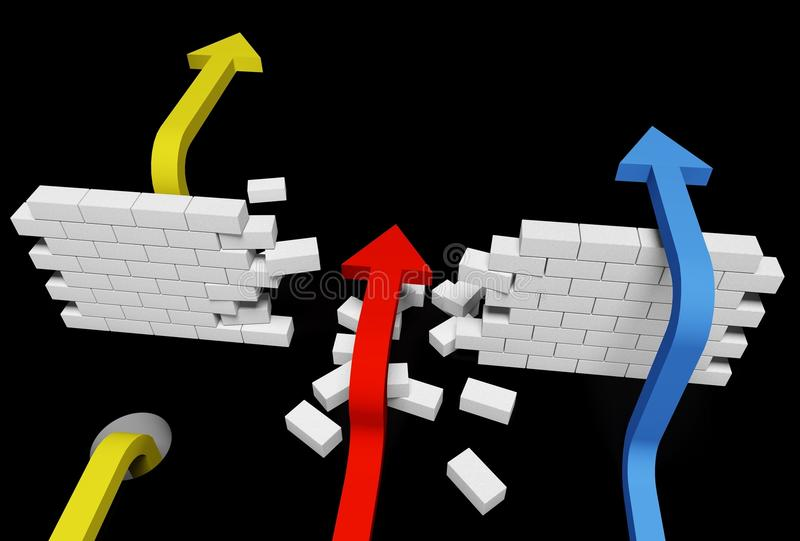 Determination. Boundary breaking strategy escape wall unstoppable royalty free illustration