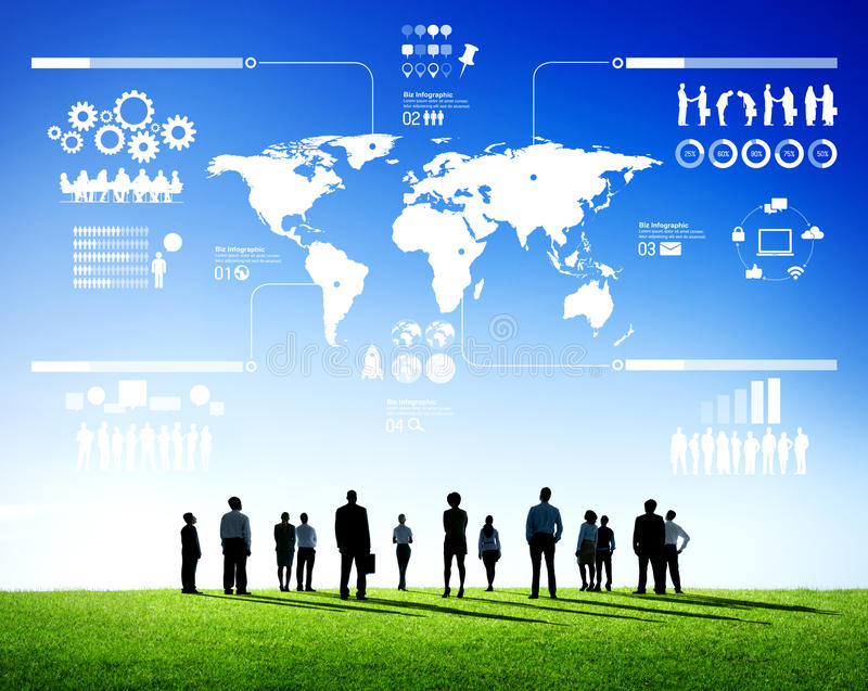 Determination of Business Teamwork with the World Map stock photography