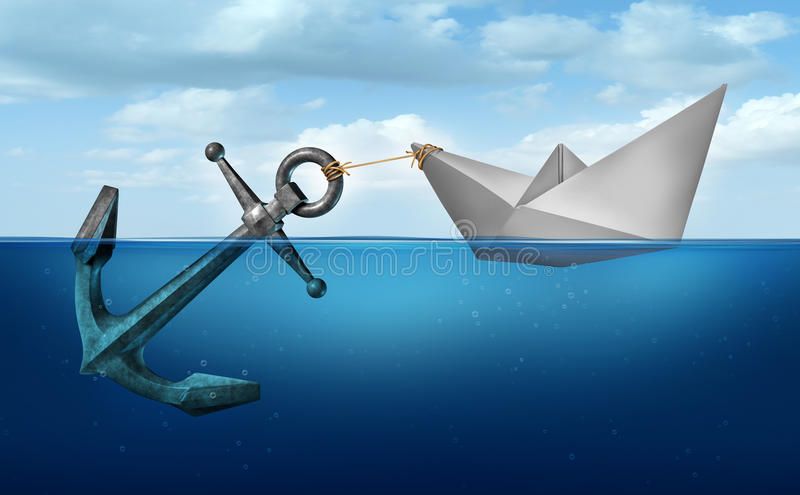 Determination Concept. Business concept as a paper boat in water pulling a heavy metal anchor as an independence and resolve symbol royalty free illustration