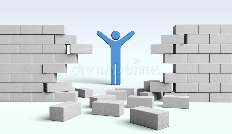 Determination. Boundary breaking strategy escape wall unstoppable stock illustration