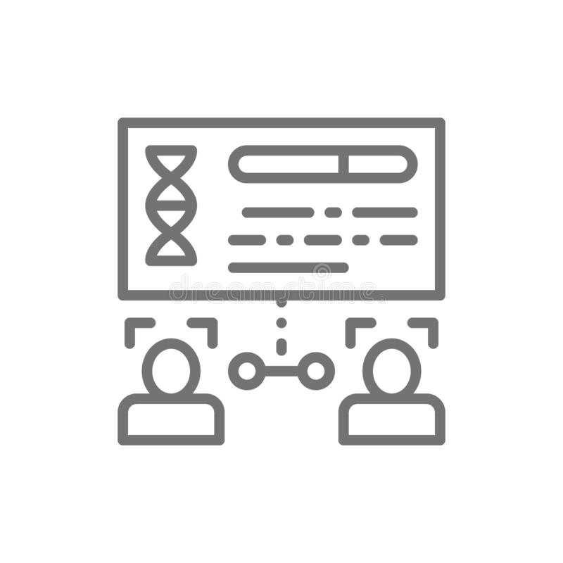 Determination of kinship by persons, face verification line icon. Vector determination of kinship by persons, face verification line icon. Symbol and sign stock illustration