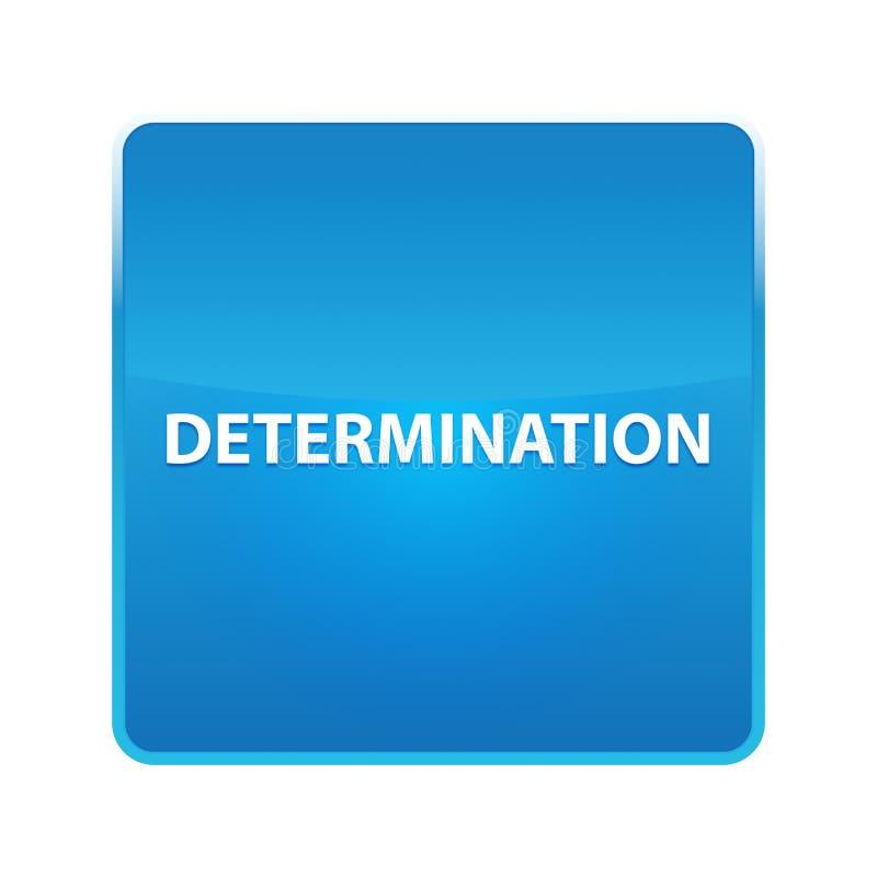 Determination shiny blue square button. Determination Isolated on shiny blue square button vector illustration