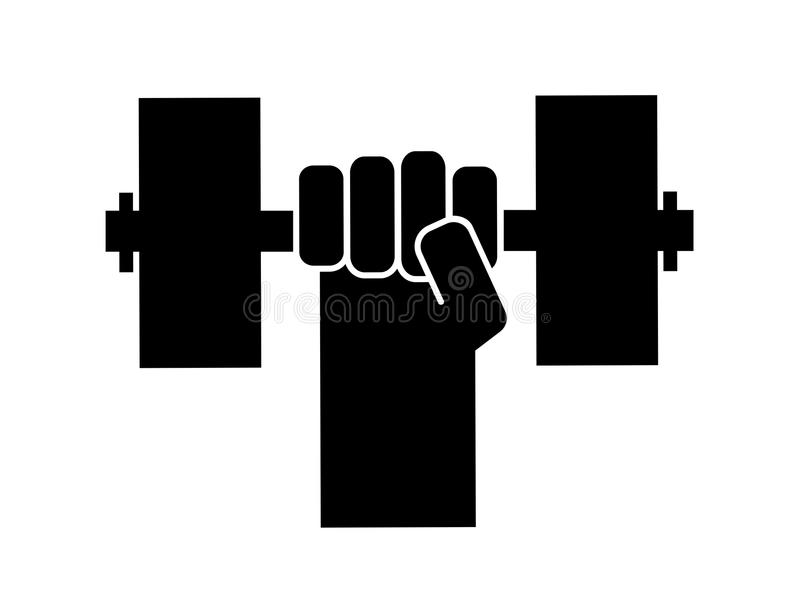 Determination to bodybuilding, lifting and fitness training. Raised and clenched fist is doing workout and physical training with heavy dumbbell, barbell and royalty free illustration