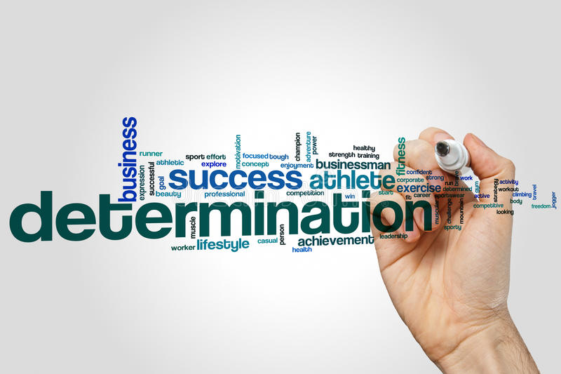 Determination word cloud concept on grey background royalty free stock images
