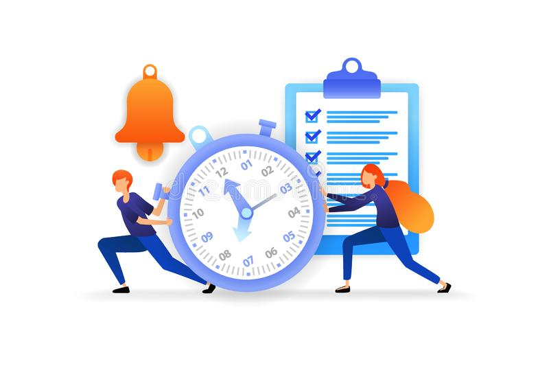 Determine and manage time. complete work deadlines to streamline business. speed for successful careers. vector illustration conce. Pt for, landing page, web, ui stock illustration