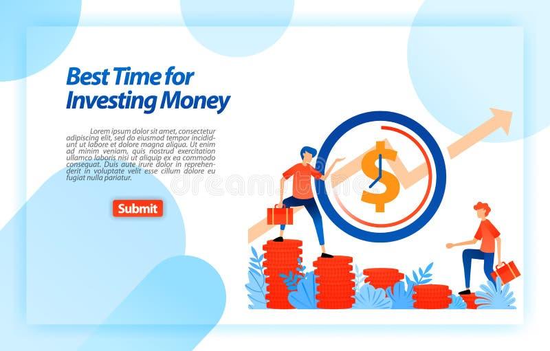 Determine a melhor hora de escolher um investimento oportunidade no momento adequado estabelecer uma estratégia empresarial Conce ilustração do vetor