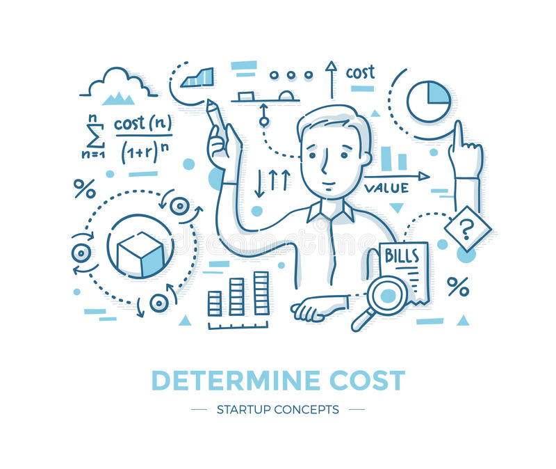 Determine o custo Startup ilustração stock