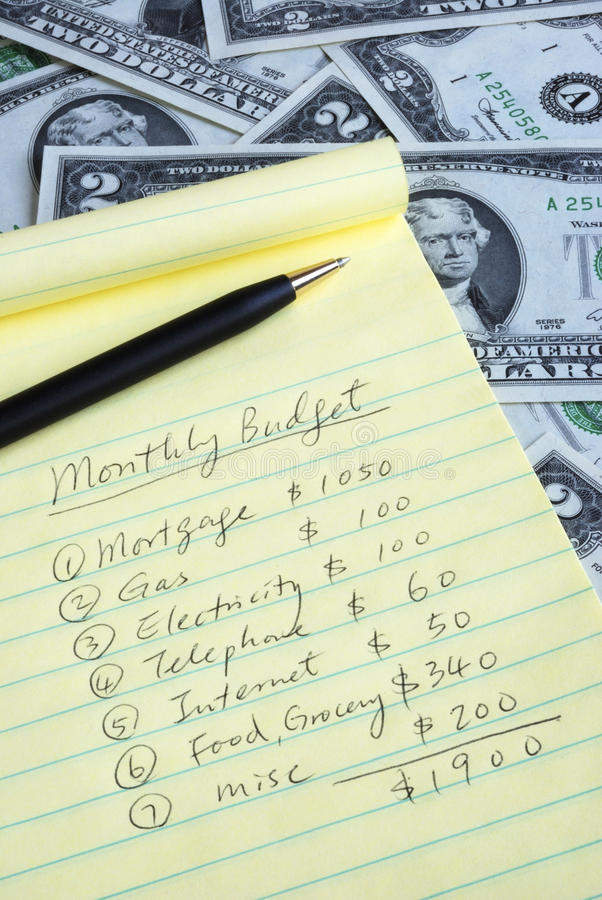 Determine o orçamento mensal imagem de stock royalty free