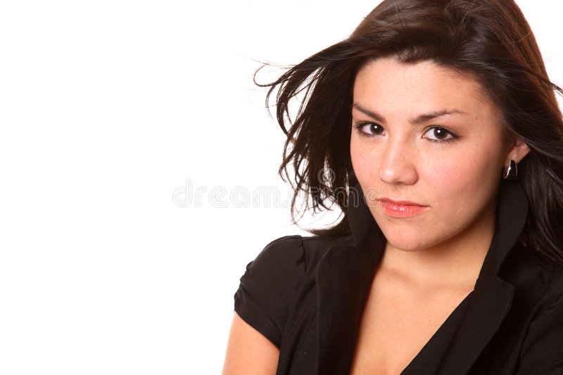 Download Determined Brunette stock photo. Image of blue, pretty - 3337128