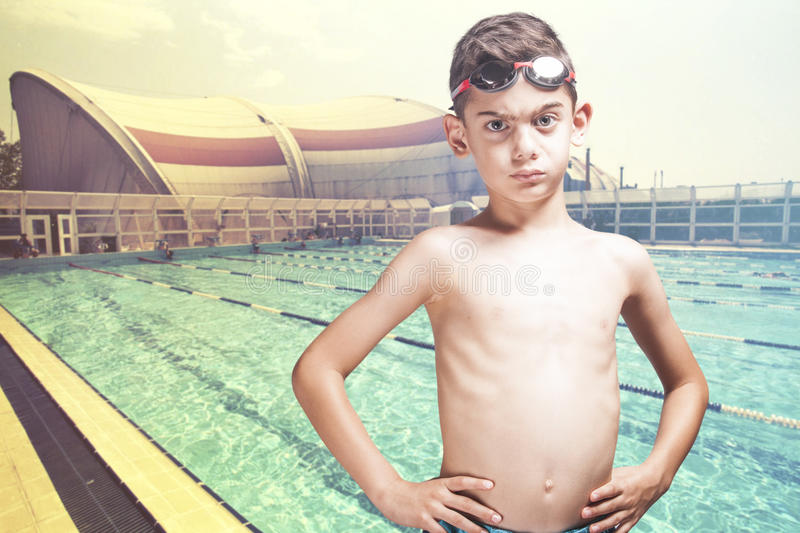 Determined little swimmer royalty free stock image
