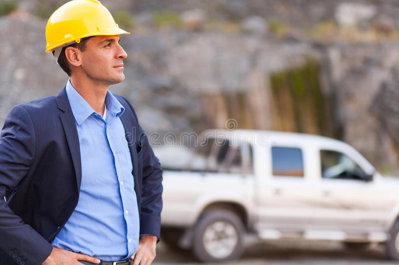Determined mine manager royalty free stock image