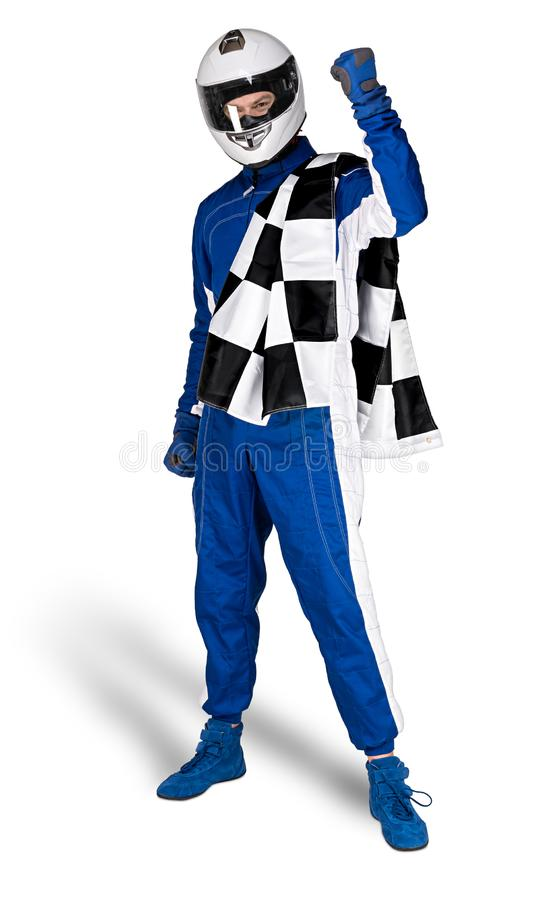Determined race driver in blue white motorsport overall shoes gloves integral safety crash helmet and chequered checkered flag. Isolated on white background stock images