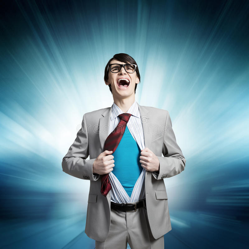 Determined super businessman stock photography