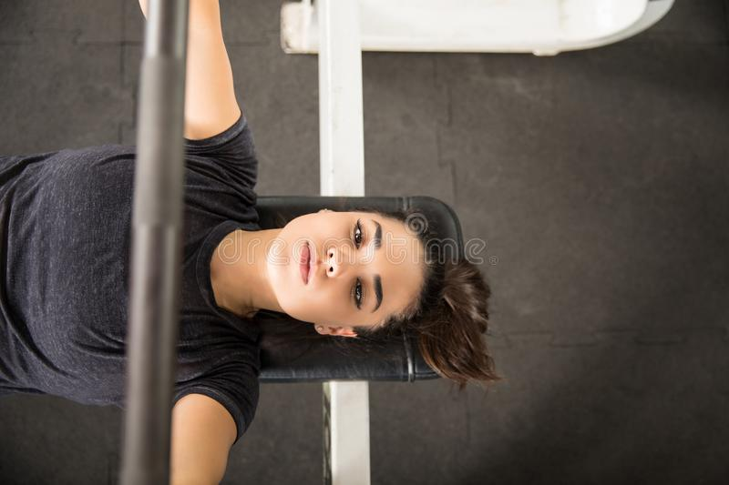 Determined Woman Pumping Muscles With Barbell On Bench Press. Directly above shot of determined woman pumping muscles with barbell on bench press in gym royalty free stock photo