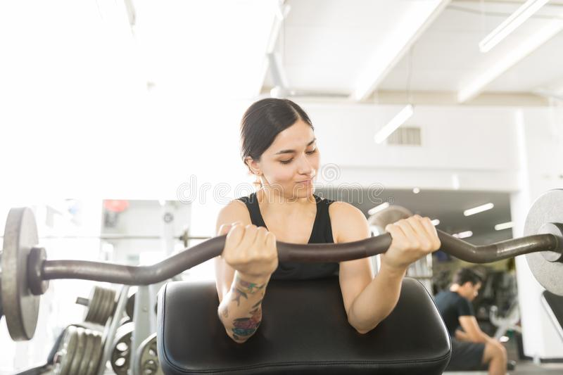 Determined Woman Working Out With Curl Bar In Gym. Determined woman working out with curl bar while sitting on exercise machine in gym stock photo